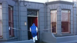 A forensic investigator at the scene of the stabbing in Sandys Street, Newry