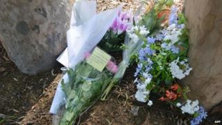 Flowers are laid in a Sydney park on March 9, 2015, on the spot where a mother from India, IT professional Prabha Arun Kumar, 41, was stabbed to death during a brutal attack while speaking by phone to her distraught husband in India,