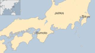 Map showing the western Japanese city of Sumoto
