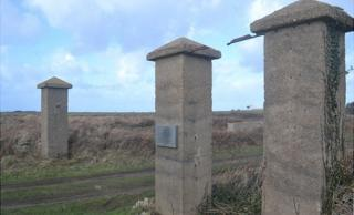 Gateposts to former concentration camp SS Lager Sylt