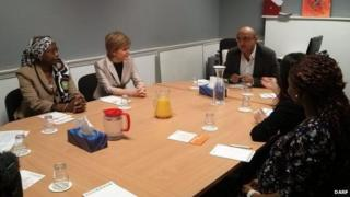 First Minister Nicola Sturgeon (pictured second left) meeting members of the Darf and Roshni charities