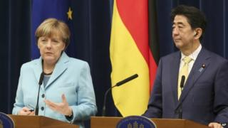 German Chancellor Angela Merkel met Japanese PM Shinzo Abe on Monday