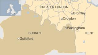 Map of Warlingham in Surrey