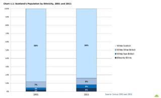 Scotland's population by ethnicity, 2001-2011