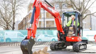 Boris Johnson in a digger
