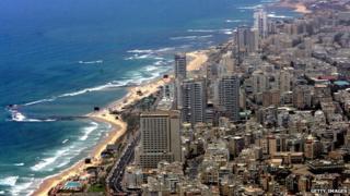 An aerial view of hotels along Tel Aviv's beachfront