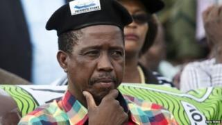 Edgar Lungu pictured during a rally in Zambia in January 2015