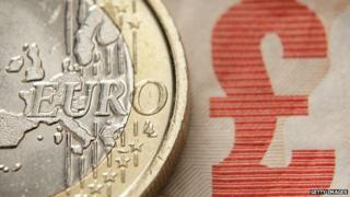 Euro coin and UK banknote