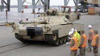 Abrams tank in Riga (9 March)
