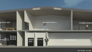An artist's impression of the construction facility at Wiltshire College's Trowbridge campus