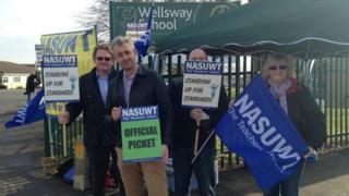 Staff picketing at Wellsway School