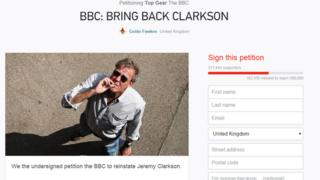 Clarkson petition on Change.org