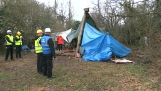 Bristol City Council prepares to remove protesters in the tree-tops at Stapleton Allotments in Bristol