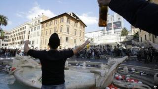 Feyenoord fans in Rome's historic centre