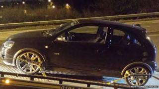 A Vauxhall Corsa seized by police