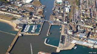 Aerial view of Bascule Bridge, Lowestoft