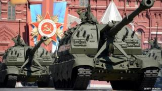 Russian tanks Victory Day parade in Moscow 2014