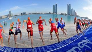 Triathlon competitors at the 2015 International Triathlon Abu Dhabi