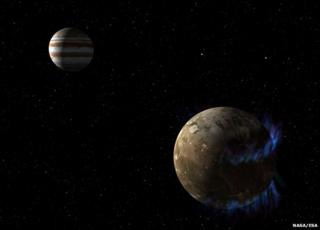 Artist's impression of Jupiter and Ganymede