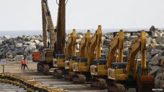 "Work has been suspended at the construction site of China-backed ""Colombo Port City"" project in Colombo"