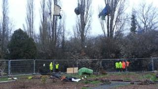 """Security specialists"" removing tree-top protesters at Stapleton Allotments"