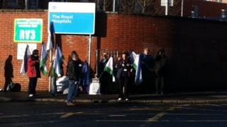 A picket line is forming at the Royal Victoria Hospital in Belfast