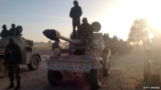 Soldiers of the Chadian army on January 21, 2015, at the border between Nigeria and Cameroon