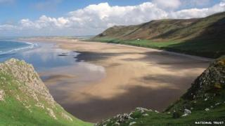 Rhossili Bay has been voted among the beaches in Europe
