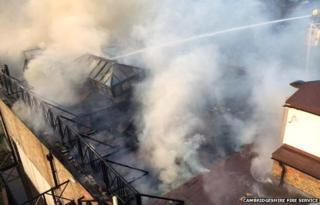 Aerial view of Tivoli pub fire