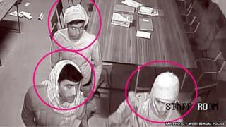 CCTV footage of three men in the Convent of Jesus and Mary in Ranaghat 15 March 2015
