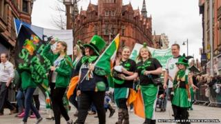 St Patrick's Day parade in Nottingham