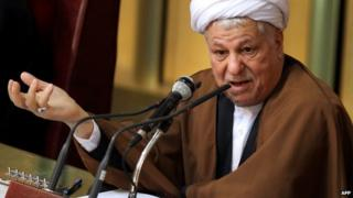 Former Iranian President Akbar Hashemi Rafsanjani delivers a speech during a meeting of the top clerical body in Tehran - 8 March 2011
