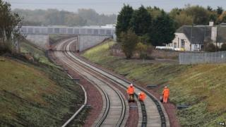 Railway engineers on a track
