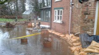 House flooded in Chadmead, North Newton, Somerset Levels