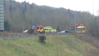 The crash scene on the A4232