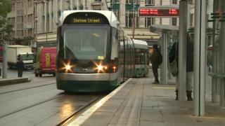Tram in Nottingham City Centre