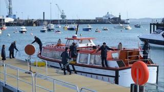 Cruise tender from Saga Sapphire arriving at Guernsey's Albert Pier, in St Peter Port