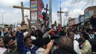 Christians in Lahore protesting on 16 March 2015