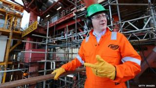 George Osborne visiting an oil rig in the North Sea