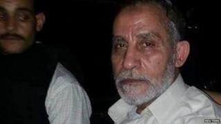 Mohammad Badie after his arrest in Cairo. 20 Aug 2013