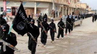 Islamic State militants in Raqqa. File photo