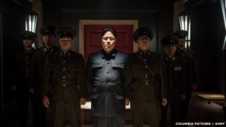 """Sony shows, Randall Park, center, as Kim Jong Un in Columbia Pictures"""""""