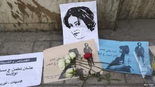 Flowers and cards at the spot where activist Shaimaa Sabbagh died during a protest in January 2015, pictured on 29 January