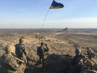 Ukrainian army position looking east towards front line