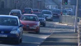 Traffic in Bontnewydd, near Caernarfon, Gwynedd