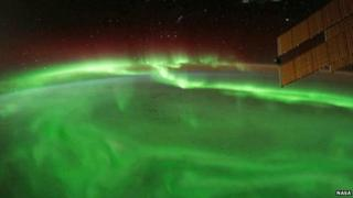 Nasa image of aurora on Tuesday