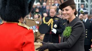 Duchess of Cambridge presents shamrocks on St Patrick's Day