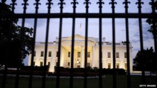 White House behind a fence