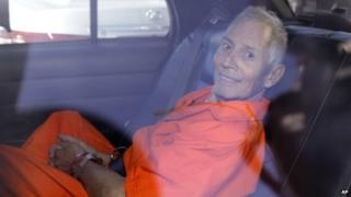 Robert Durst in the back of a car after his arraignment on Tuesday, 17 March 2015