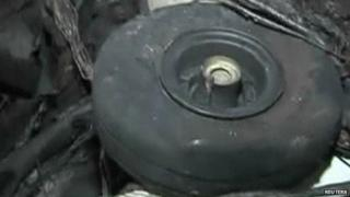A wheel purportedly from a US drone shot down in Syria